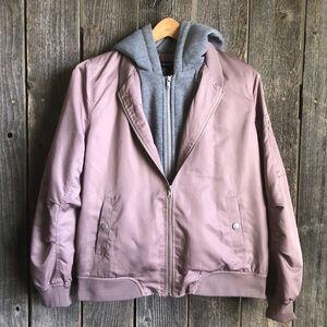 Mauve/gray double layer bomber jacket hoodie F21